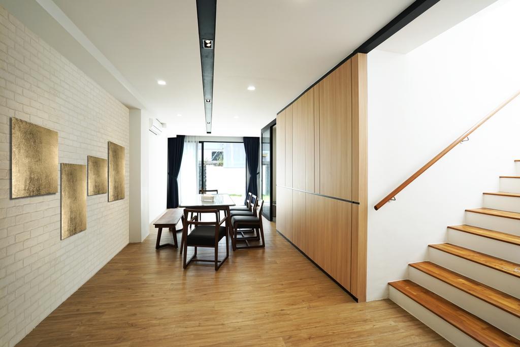 Landed, Dining Room, Tai Hwan Terrace, Interior Designer, Metamorph Design, Door, Sliding Door, Flooring, Dining Table, Furniture, Table, Indoors, Interior Design, Room