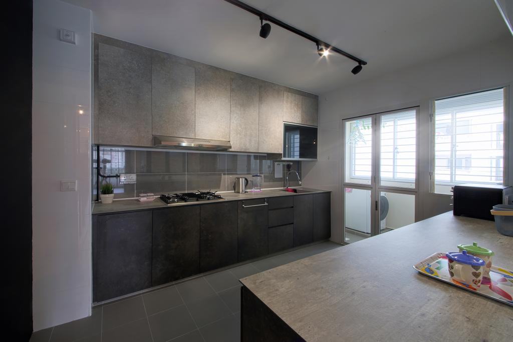 Scandinavian, HDB, Kitchen, Compassvale Cape, Interior Designer, Dap Atelier, Industrial, Door, Sliding Door