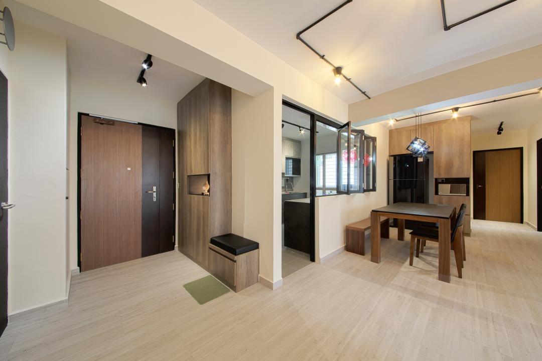 Compassvale Cape, Dap Atelier, Scandinavian, Industrial, Living Room, HDB, Dining Table, Furniture, Table, Flooring, Basement, Indoors, Room