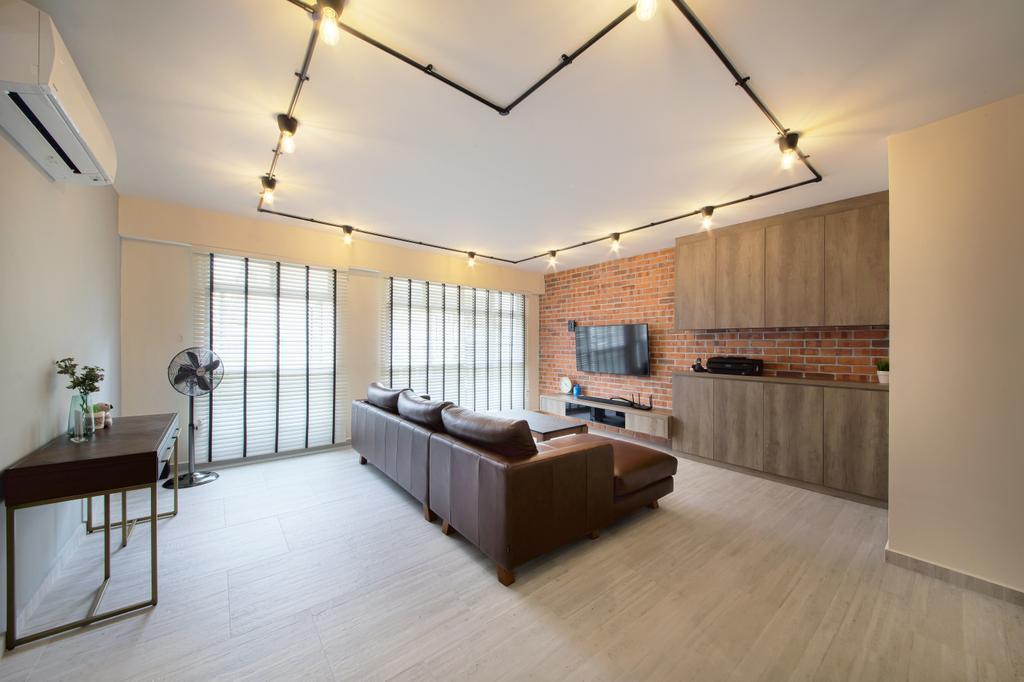 Scandinavian, HDB, Living Room, Compassvale Cape, Interior Designer, Dap Atelier, Industrial, Flooring, Dining Table, Furniture, Table