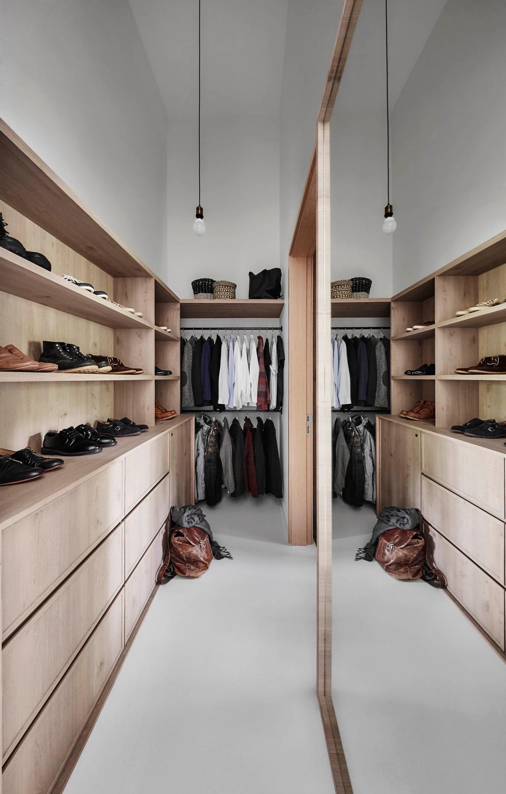 Scandinavian, Condo, Bedroom, The Skywood, Interior Designer, Dan's Workshop, Clothing, Footwear, Shoe, Luggage, Suitcase, Closet, Furniture, Wardrobe