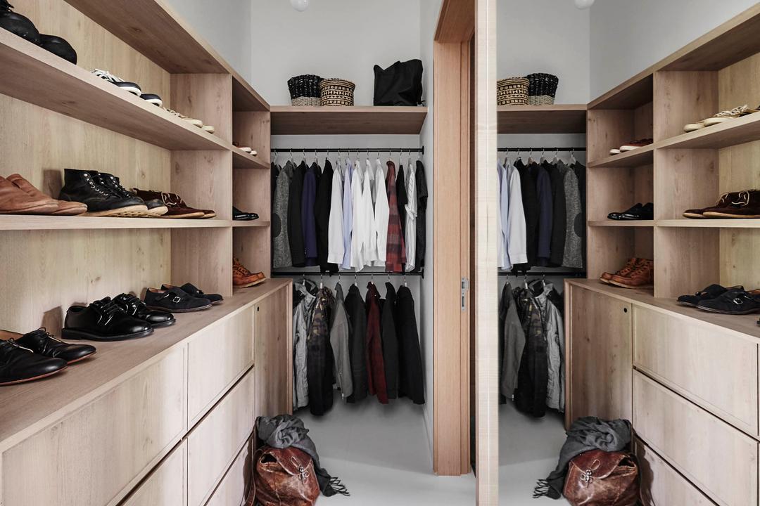 The Skywood, Dan's Workshop, Scandinavian, Bedroom, Condo, Clothing, Footwear, Shoe, Luggage, Suitcase, Closet, Furniture, Wardrobe