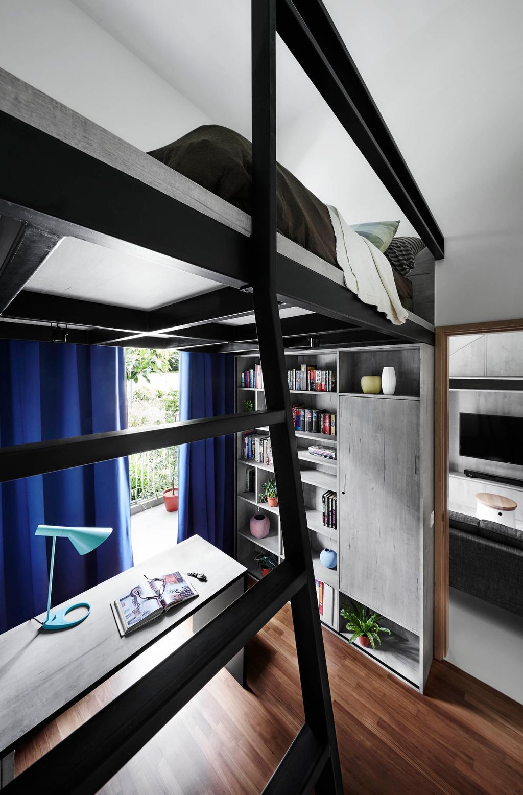 Scandinavian, Condo, Bedroom, The Skywood, Interior Designer, Dan's Workshop, Bookcase, Furniture, Chair