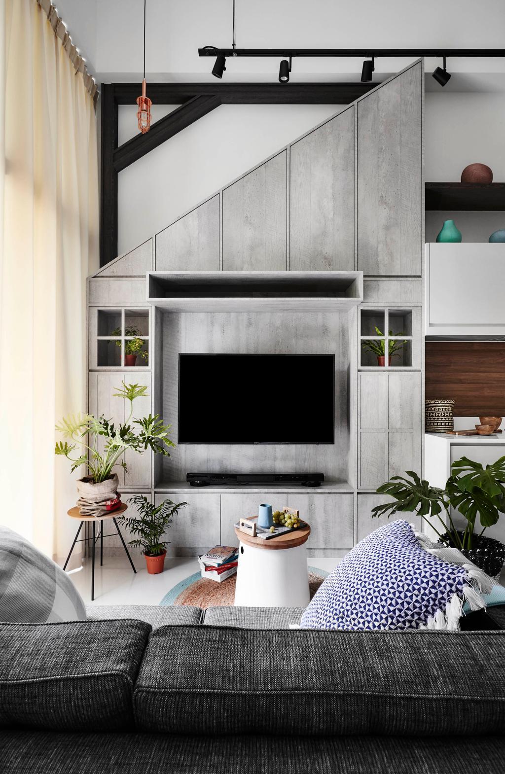Scandinavian, Condo, Living Room, The Skywood, Interior Designer, Dan's Workshop, Flora, Jar, Plant, Potted Plant, Pottery, Vase, Fireplace, Hearth