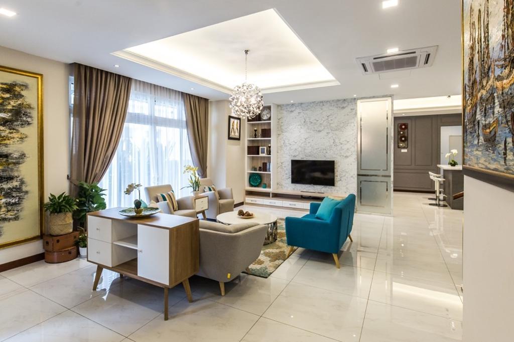 Modern, Landed, Bungalow, Setia Alam, Interior Designer, Klaasmen Sdn. Bhd., Flora, Jar, Plant, Potted Plant, Pottery, Vase, Couch, Furniture, Sideboard