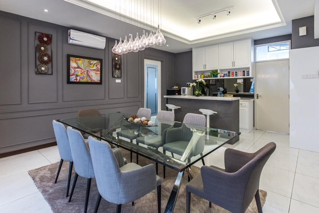 Modern, Landed, Bungalow, Setia Alam, Interior Designer, Klaasmen Sdn. Bhd., Chair, Furniture, Dining Room, Indoors, Interior Design, Room, Appliance, Electrical Device, Oven, Dining Table, Table, Conference Room, Meeting Room