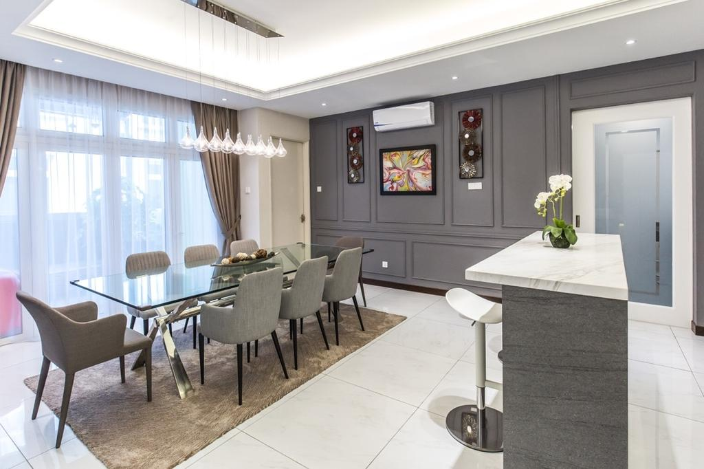 Modern, Landed, Bungalow, Setia Alam, Interior Designer, Klaasmen Sdn. Bhd., Dining Table, Furniture, Table, Door, Sliding Door, Electronics, Entertainment Center, Home Theater, Conference Room, Indoors, Meeting Room, Room, Chair, Dining Room, Interior Design