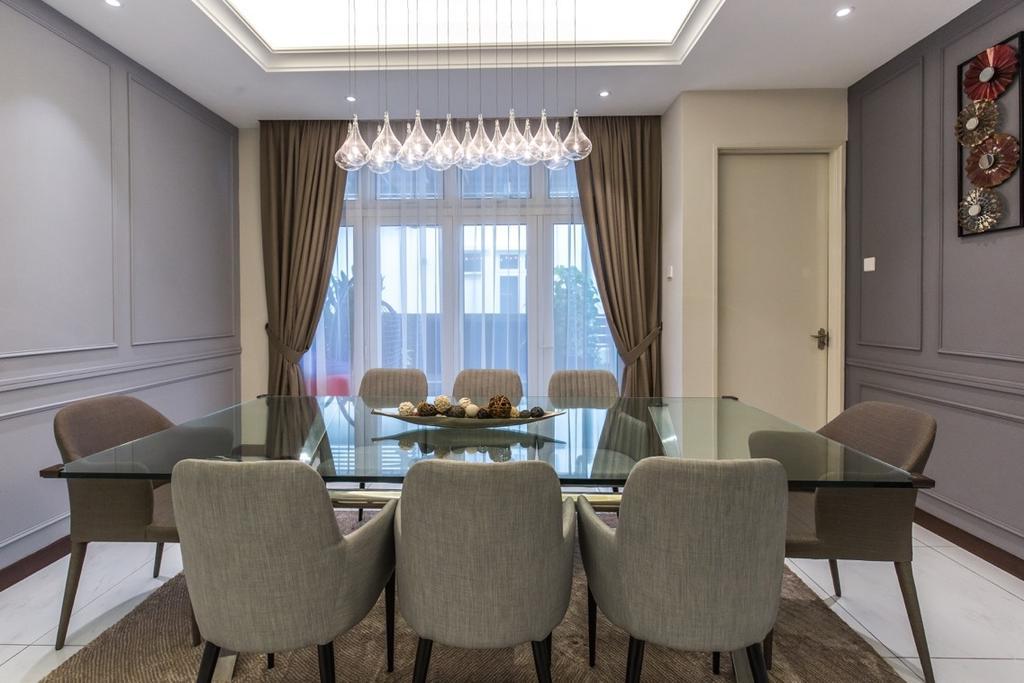 Modern, Landed, Bungalow, Setia Alam, Interior Designer, Klaasmen Sdn. Bhd., Chair, Furniture, Dining Room, Indoors, Interior Design, Room, Conference Room, Meeting Room