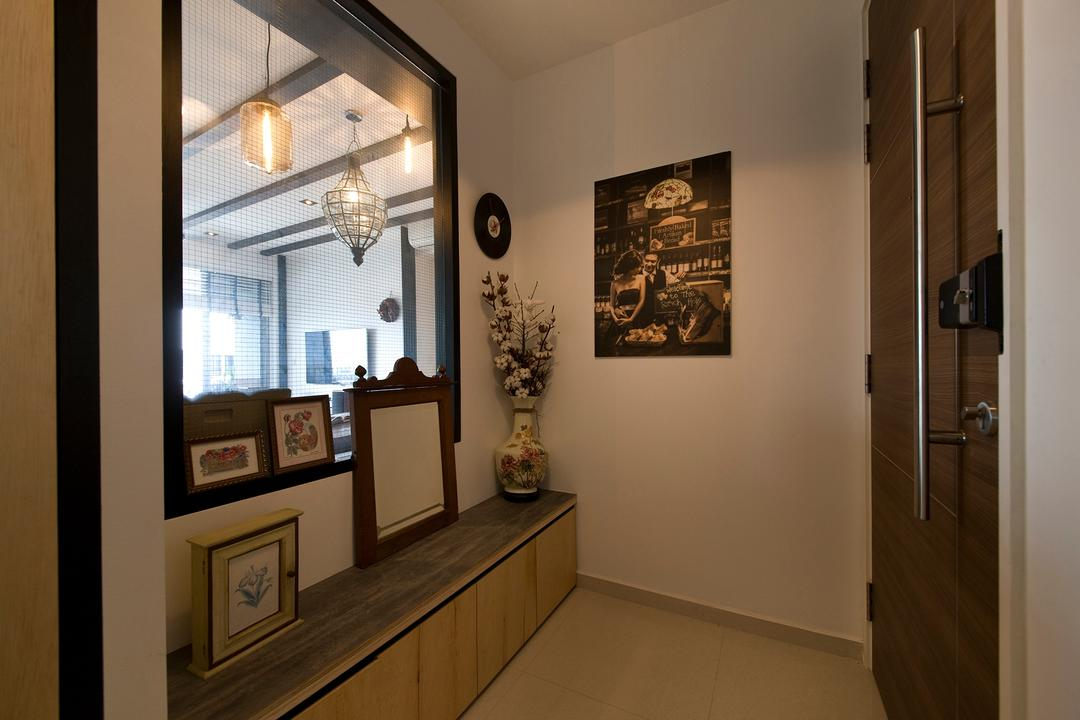 Arc @ Tampines, Habit, Transitional, Living Room, Condo, Photo Frame, Mirror, Lights, Shoe Rack, Shoes Bench, Chandelier, Lamp, Art, Art Gallery
