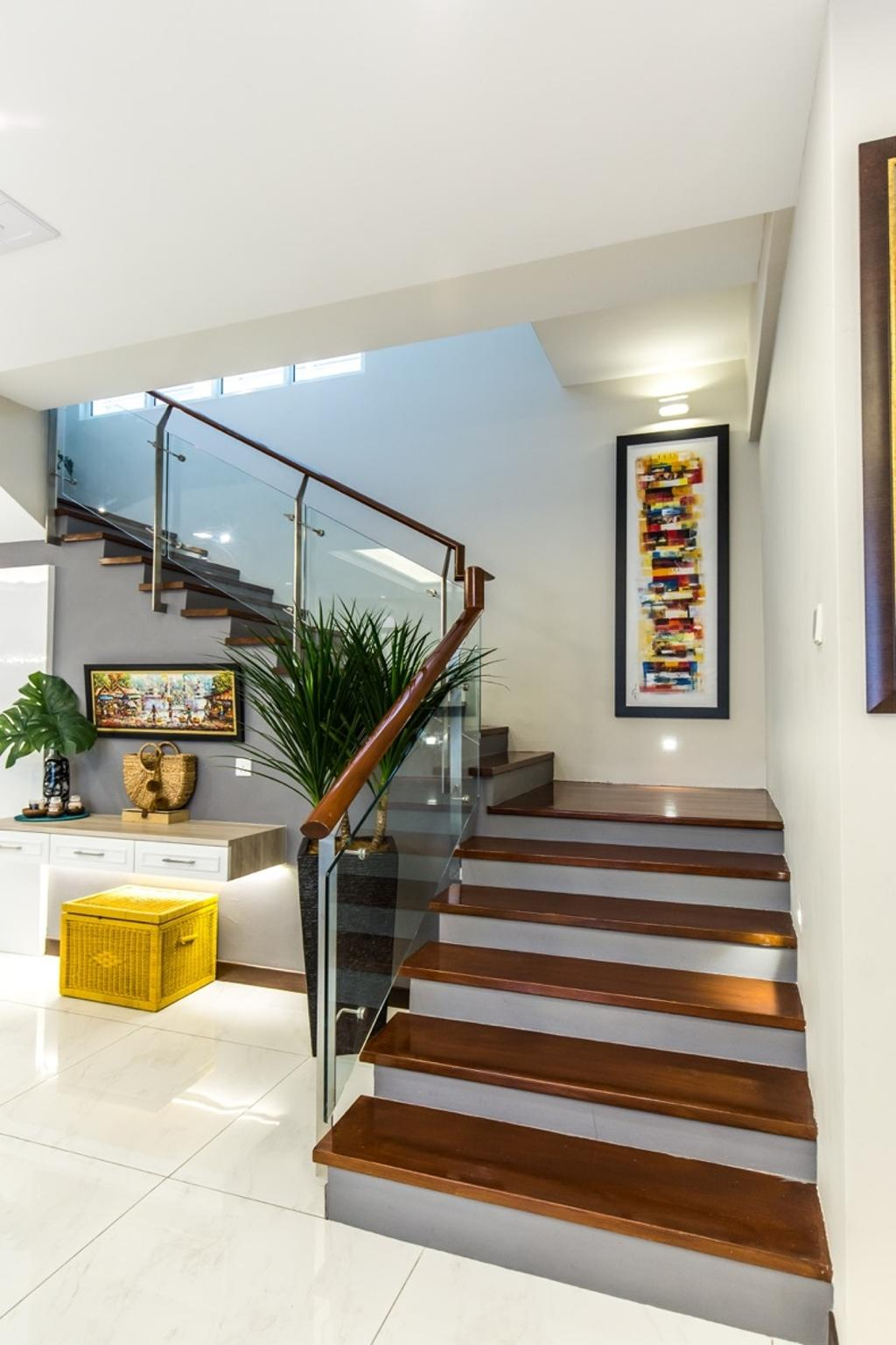 Modern, Landed, Bungalow, Setia Alam, Interior Designer, Klaasmen Sdn. Bhd., Flora, Jar, Plant, Potted Plant, Pottery, Vase, Banister, Handrail, Staircase