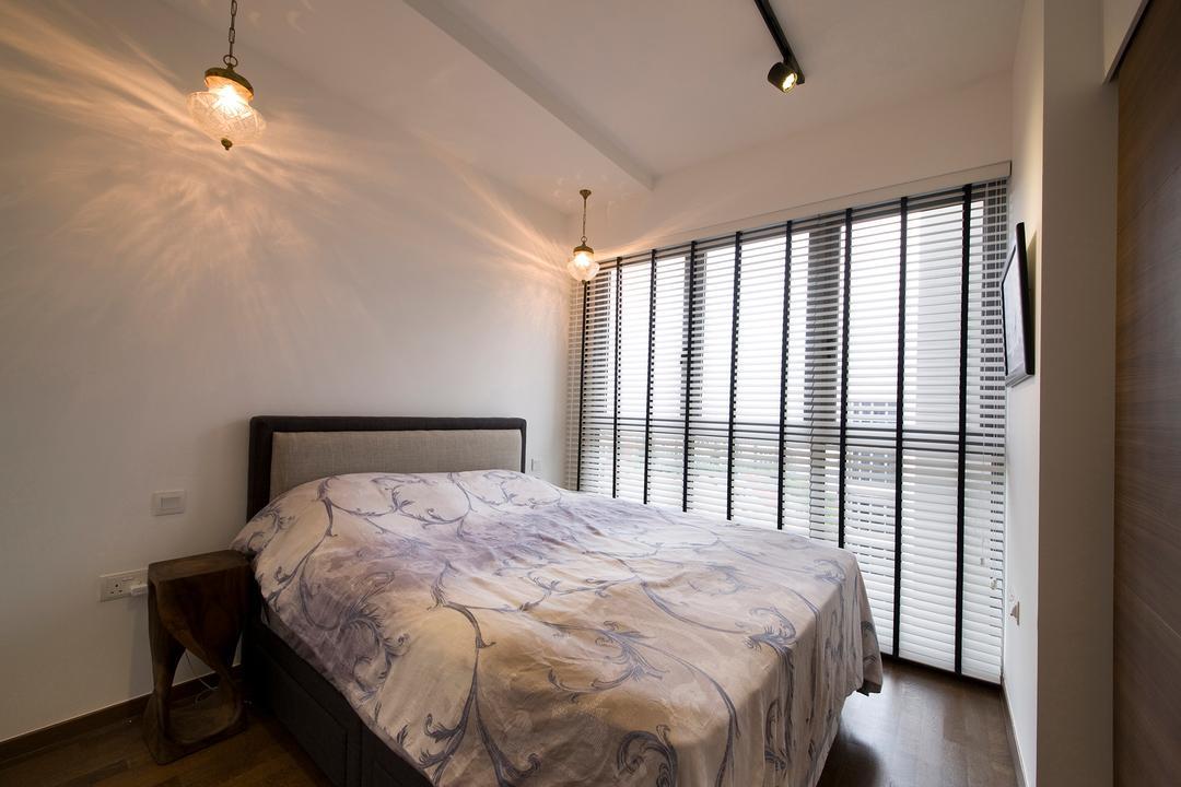 Arc @ Tampines, Habit, Transitional, Bedroom, Condo, Bed, Bedfram, Bedsheet, Blinds, Bedside Table, Bedroom Lights, Furniture, Indoors, Interior Design, Room