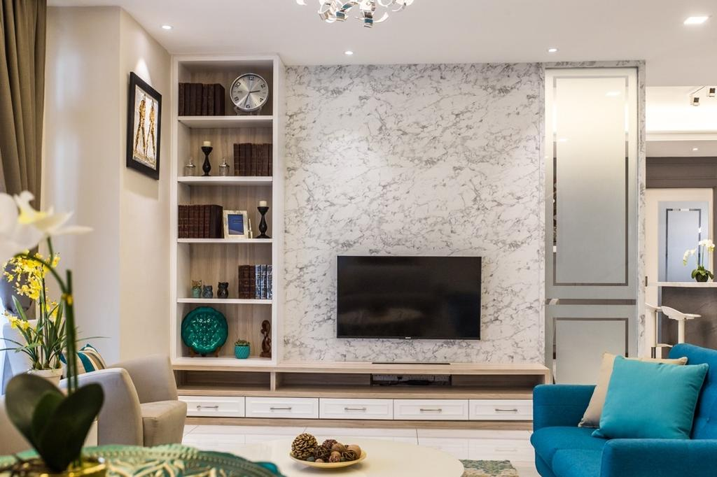 Modern, Landed, Living Room, Bungalow, Setia Alam, Interior Designer, Klaasmen Sdn. Bhd., Couch, Furniture, Clock, Wall Clock, Flora, Jar, Plant, Potted Plant, Pottery, Vase, Fireplace, Hearth, Indoors, Interior Design, Room