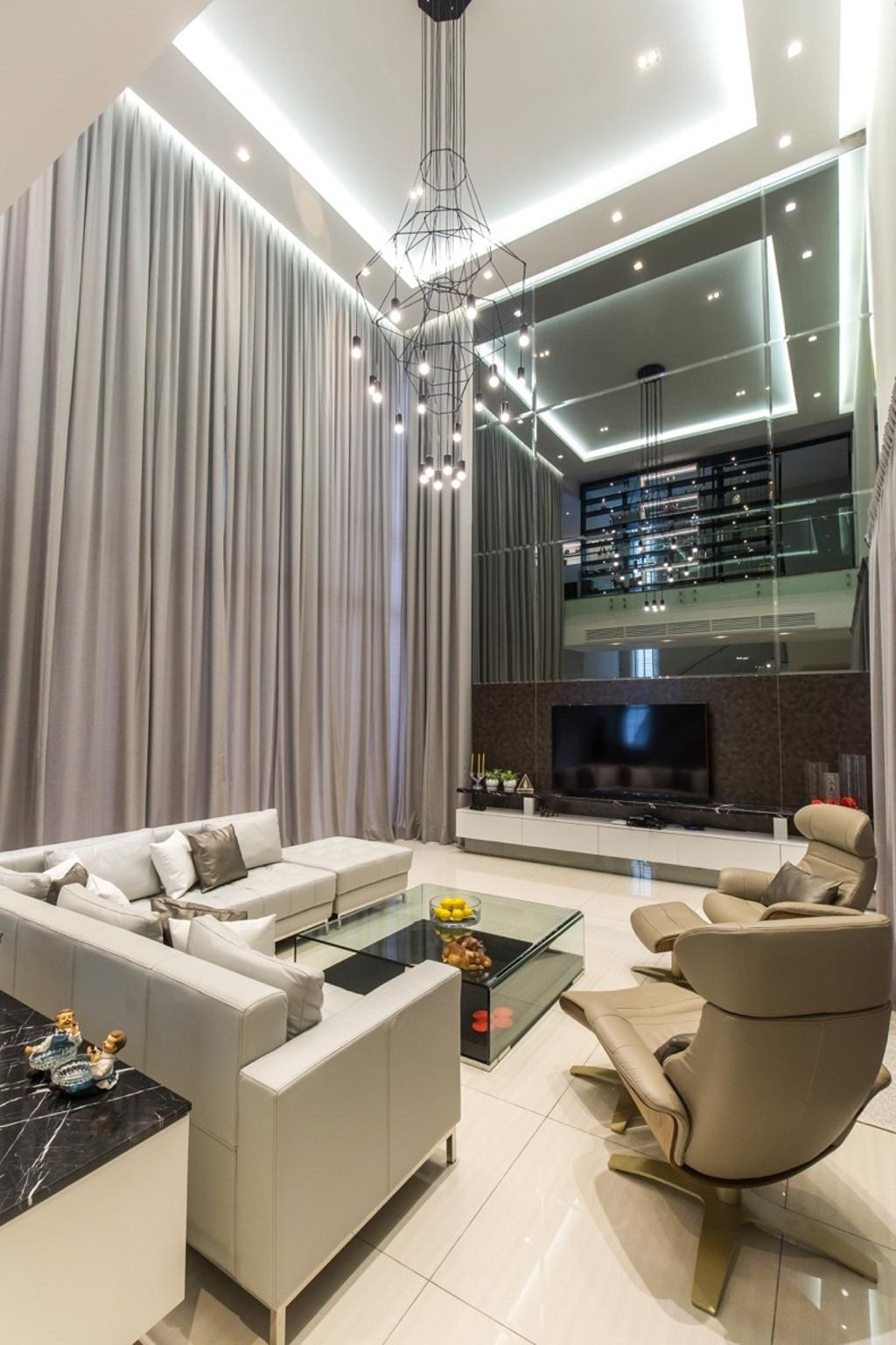 Modern, Landed, Living Room, Twin Palms Sungai Long, Interior Designer, Klaasmen Sdn. Bhd., Contemporary