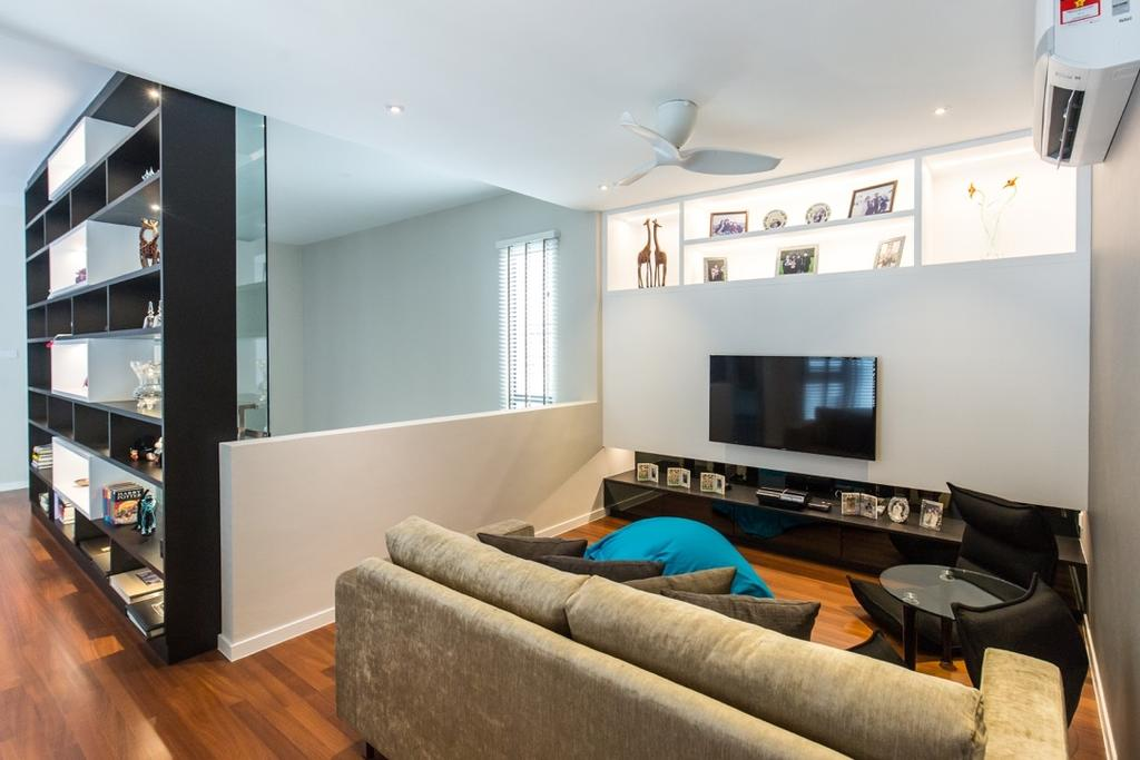 Modern, Landed, Twin Palms Sungai Long, Interior Designer, Klaasmen Sdn. Bhd., Contemporary, Couch, Furniture, Shelf