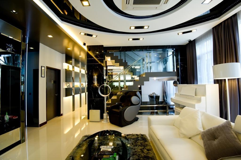 Modern, Landed, Living Room, Setia Eco Park, Interior Designer, Klaasmen Sdn. Bhd., Contemporary, Couch, Furniture, Indoors, Interior Design, Cushion, Home Decor