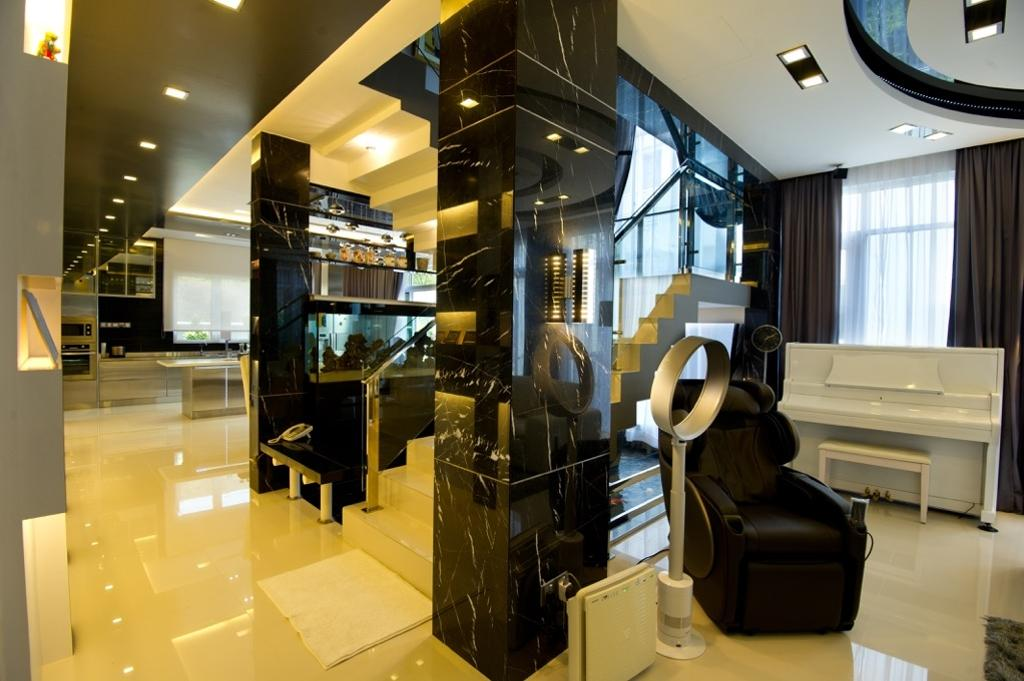 Modern, Landed, Living Room, Setia Eco Park, Interior Designer, Klaasmen Sdn. Bhd., Contemporary, Appliance, Electrical Device, Oven, Chair, Furniture