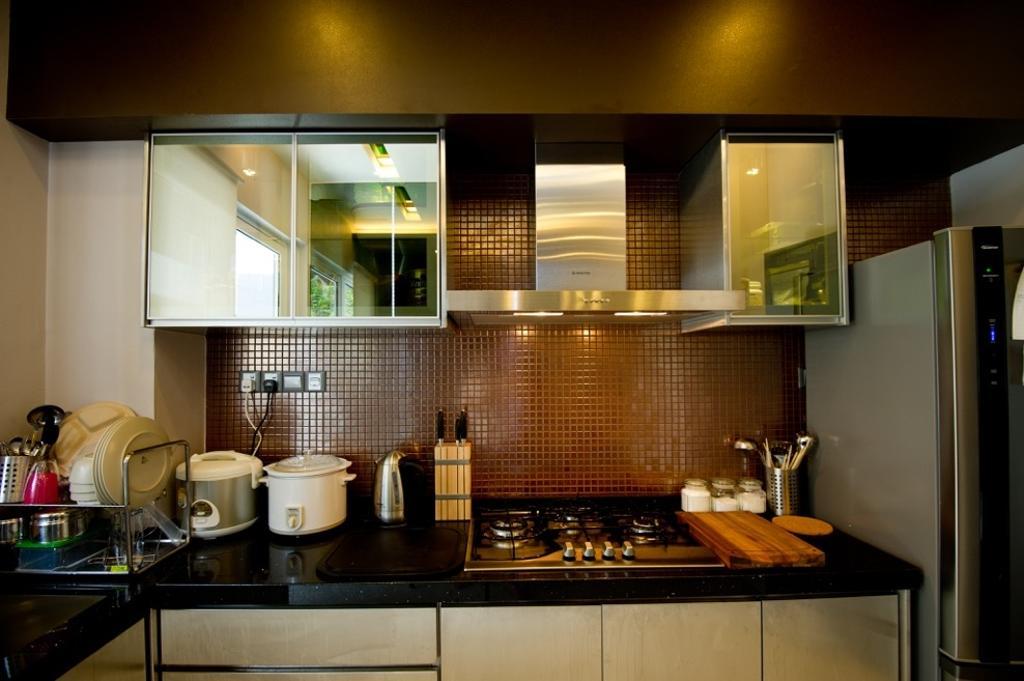 Modern, Landed, Kitchen, Setia Eco Park, Interior Designer, Klaasmen Sdn. Bhd., Contemporary, Appliance, Electrical Device, Oven, Curtain, Home Decor, Window, Window Shade, Indoors, Interior Design, Room