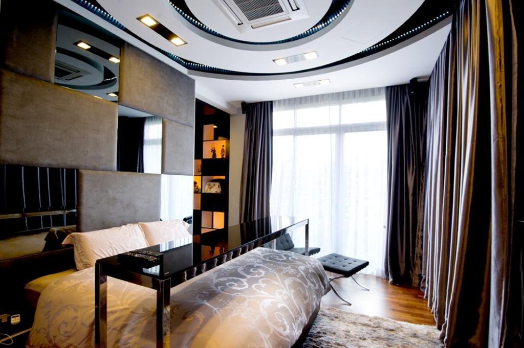 Modern, Landed, Bedroom, Setia Eco Park, Interior Designer, Klaasmen Sdn. Bhd., Contemporary, Curtain, Home Decor, Bed, Furniture, Indoors, Interior Design, Room
