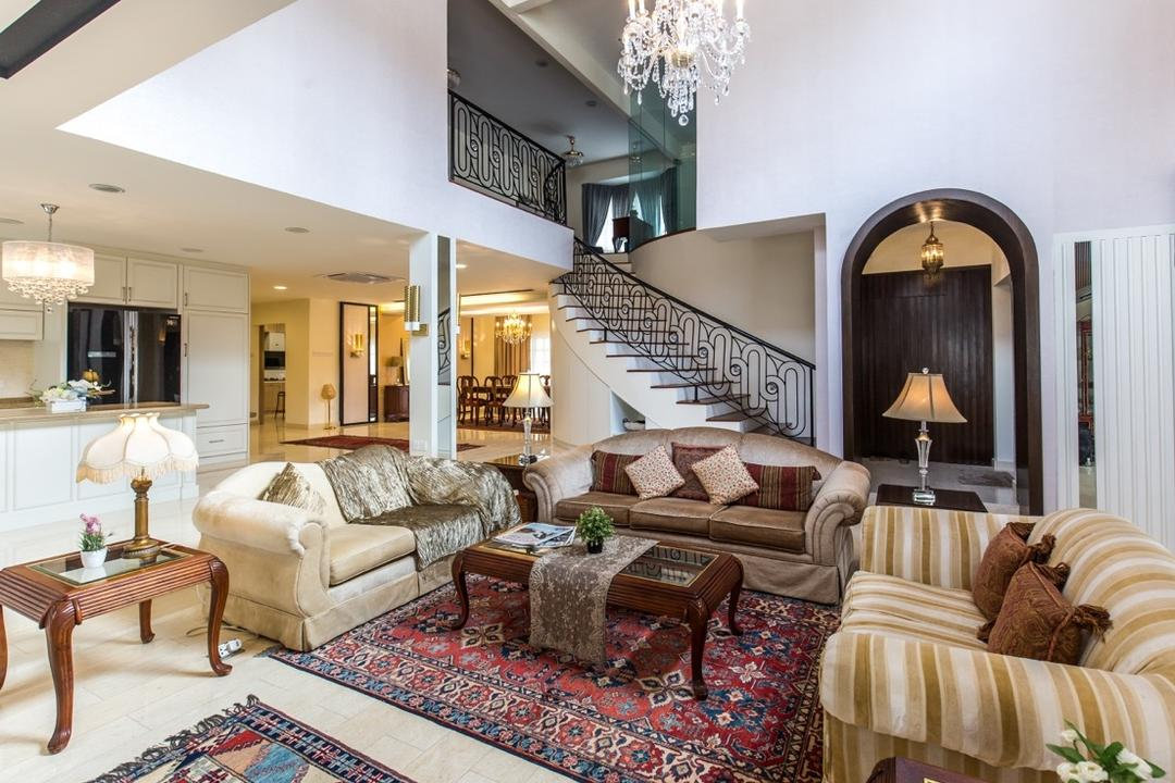 Taman Tar, Ampang, Klaasmen Sdn. Bhd., Eclectic, Traditional, Living Room, Landed, Banister, Handrail, Staircase, Couch, Furniture, Dining Table, Table, Indoors, Room, Bedroom, Interior Design, Lamp