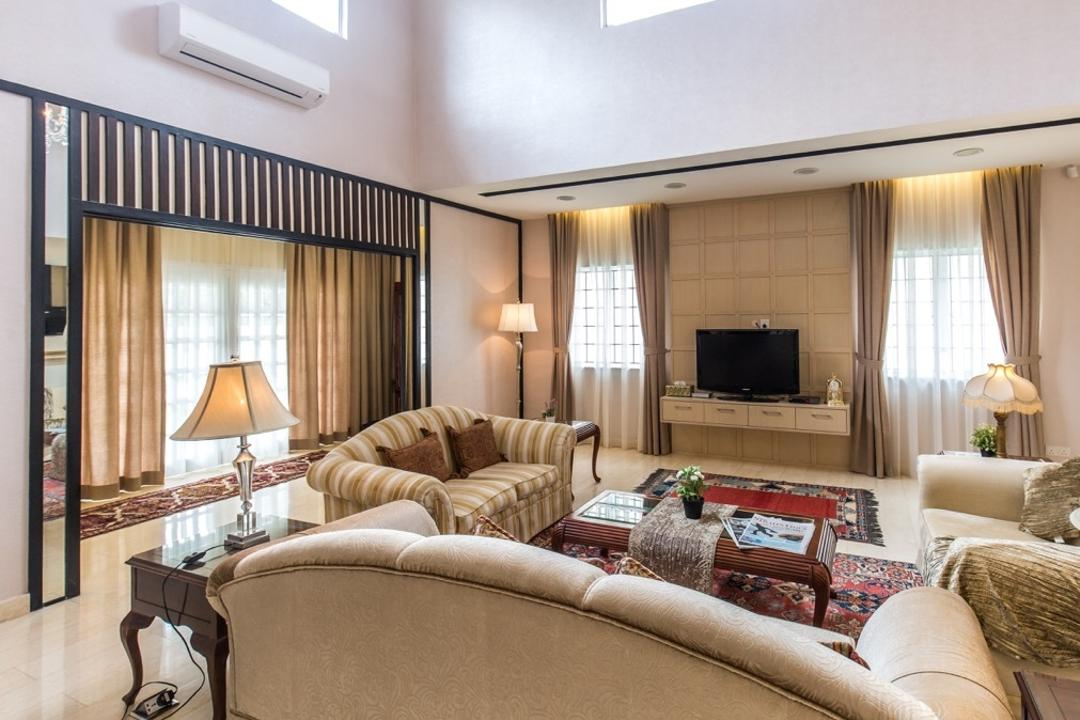 Taman Tar, Ampang, Klaasmen Sdn. Bhd., Eclectic, Traditional, Living Room, Landed, Couch, Furniture, Indoors, Room, Electronics, Monitor, Screen, Tv, Television, Lamp, Table Lamp, Entertainment Center