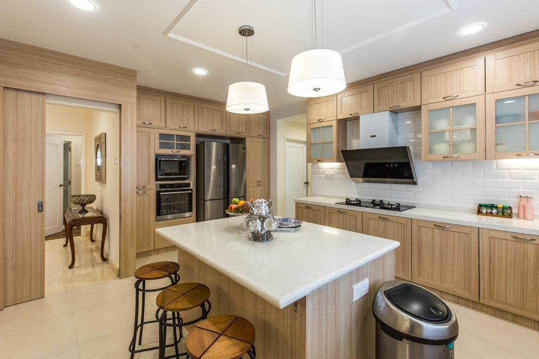 Taman Tar, Ampang, Klaasmen Sdn. Bhd., Eclectic, Traditional, Kitchen, Landed, Indoors, Interior Design, Room, Bar Stool, Furniture, Appliance, Electrical Device, Microwave, Oven