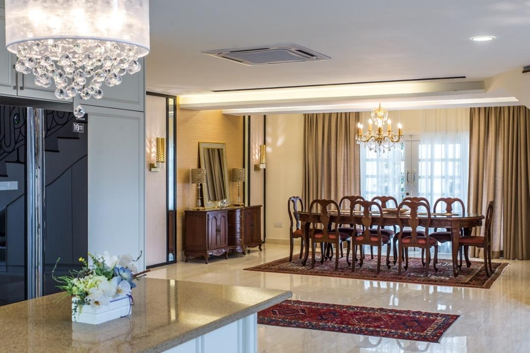 Taman Tar, Ampang, Klaasmen Sdn. Bhd., Eclectic, Traditional, Dining Room, Landed, Dining Table, Furniture, Table, Indoors, Interior Design, Room, Chair, Flora, Jar, Plant, Planter, Potted Plant, Pottery, Vase