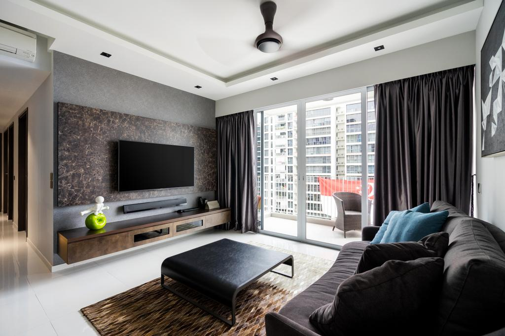 Industrial, Condo, Living Room, Punggol Walk, Interior Designer, Fineline Design, Couch, Furniture, HDB, Building, Housing, Indoors, Loft, Room, Chair
