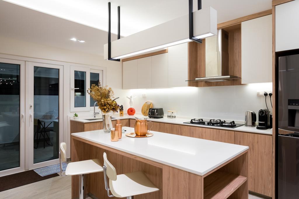 Scandinavian, Landed, Dining Room, Lorong 107 Changi, Interior Designer, Fineline Design, HDB, Building, Housing, Indoors, Loft, Interior Design, Kitchen, Room, Sink, Door, Sliding Door