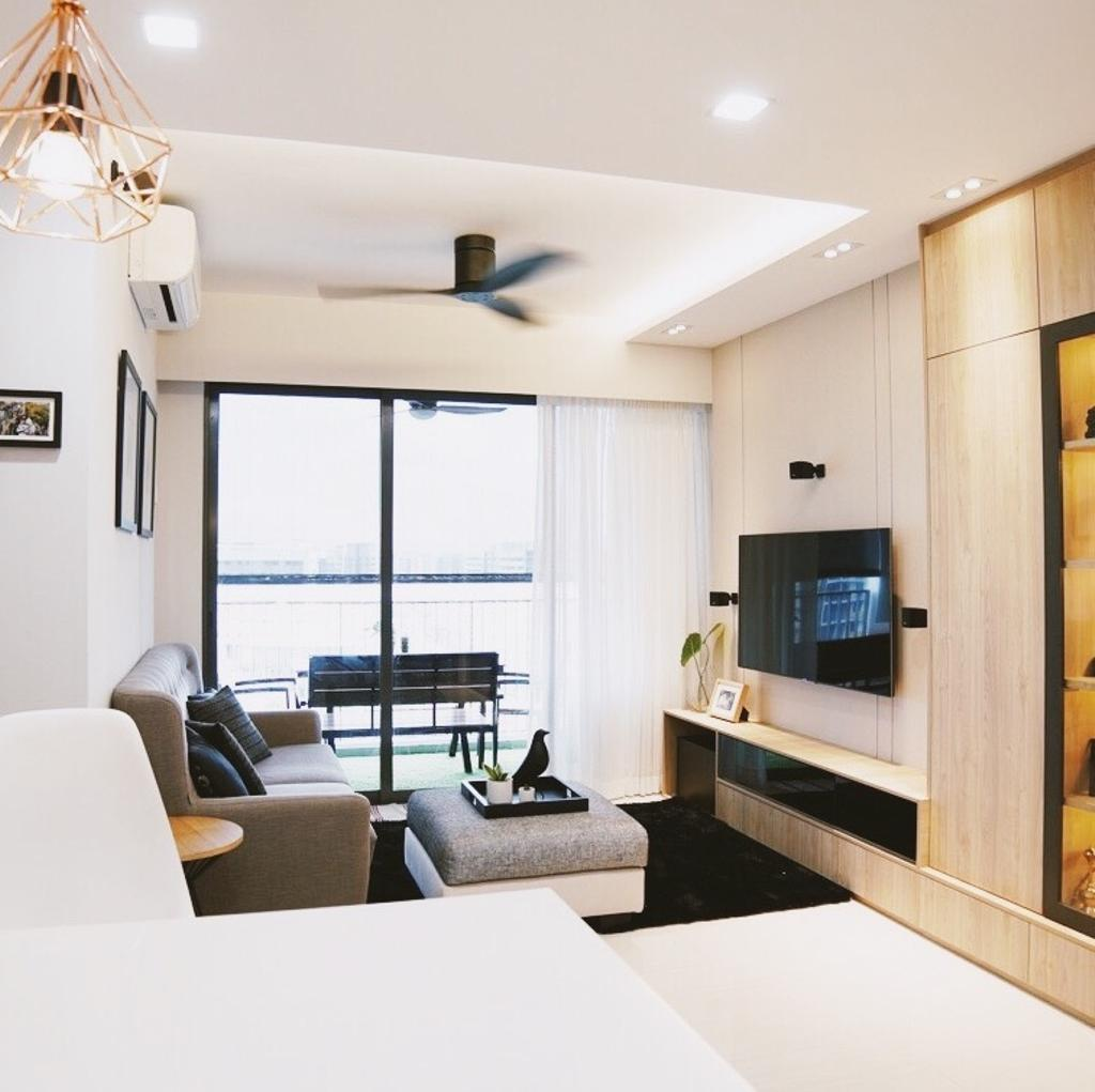 Modern, Condo, Living Room, Bellewaters, Interior Designer, The Interior.Look, Couch, Furniture, Indoors, Room, Chair