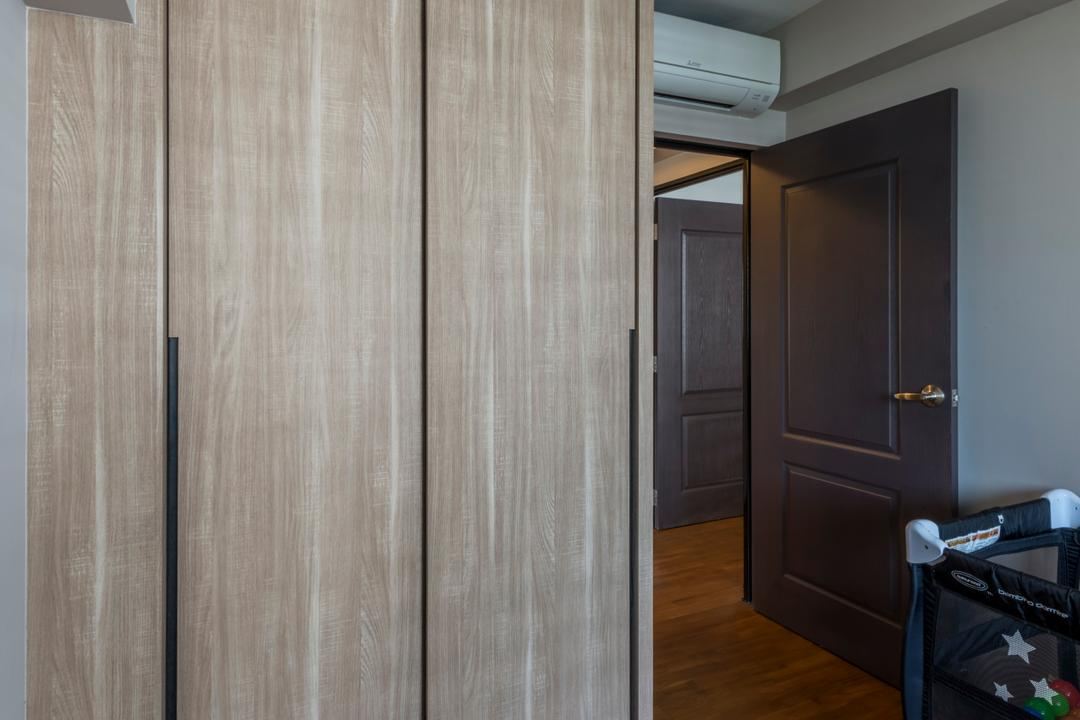 Punggol Waterway Terrace (Block 310A), Fatema Design Studio, Contemporary, Scandinavian, HDB, Luggage, Suitcase, Hardwood, Stained Wood, Wood, Molding