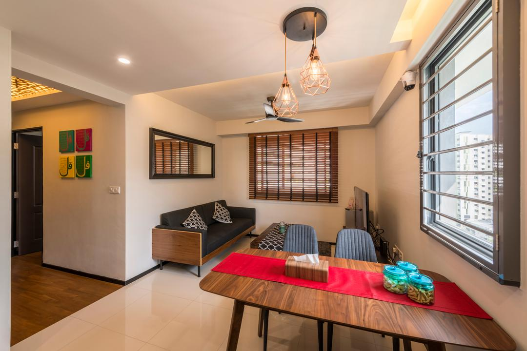 Punggol Waterway Terrace (Block 310A), Fatema Design Studio, Contemporary, Scandinavian, Living Room, HDB, Dining Room, Indoors, Interior Design, Room, Light Fixture, Dining Table, Furniture, Table, Basement