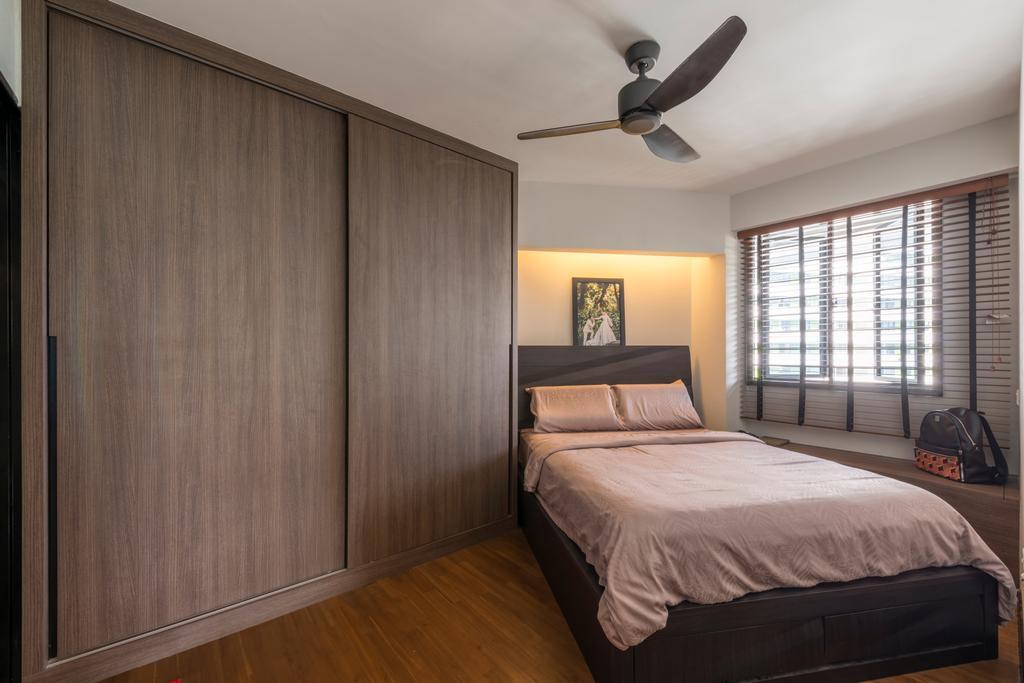 Contemporary, HDB, Bedroom, Punggol Waterway Terrace (Block 310A), Interior Designer, Fatema Design Studio, Scandinavian, Luggage, Suitcase, Propeller, Bed, Furniture