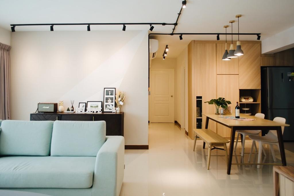 Minimalistic, HDB, Living Room, Compassvale Drive (Block 216C), Interior Designer, Authors • Interior & Styling, Scandinavian, Couch, Furniture, Flora, Jar, Plant, Potted Plant, Pottery, Vase, Dining Table, Table, Flooring, Sink, Dining Room, Indoors, Interior Design, Room
