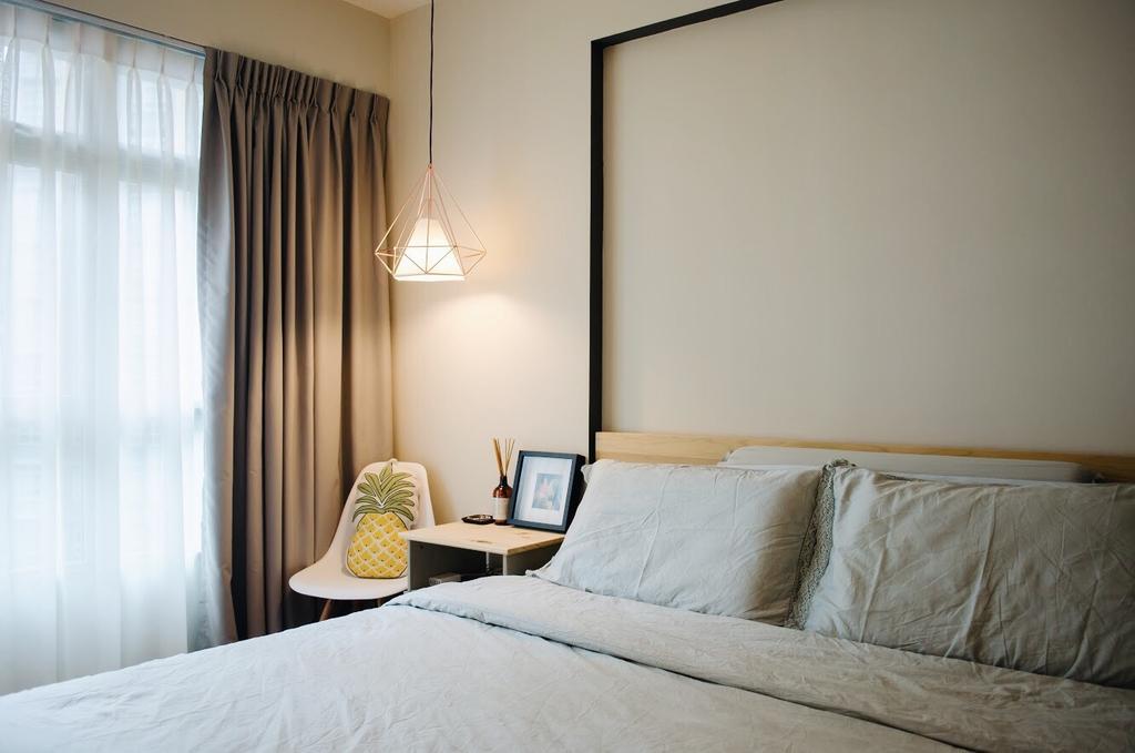 Minimalistic, HDB, Bedroom, Compassvale Drive (Block 216C), Interior Designer, Authors • Interior & Styling, Scandinavian, Bed, Furniture, Indoors, Interior Design, Room
