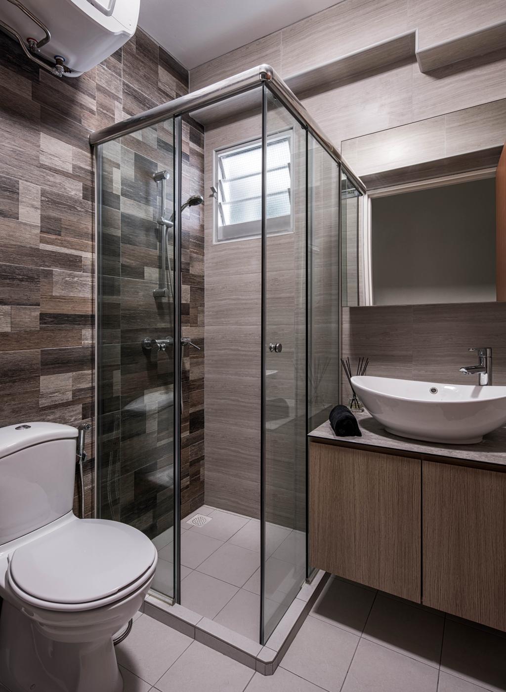 Industrial, HDB, Bathroom, Upper Serangoon Crescent (Block 471B), Interior Designer, Zenith Arc, Scandinavian, Indoors, Interior Design, Room, Tub, Bathtub