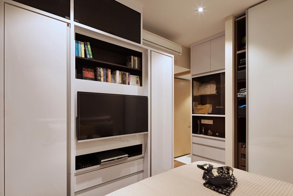 Modern, Condo, Bedroom, Terrasse Lane, Interior Designer, Zenith Arc, Minimalistic, Shelf, Bookcase, Furniture, Electronics, Entertainment Center