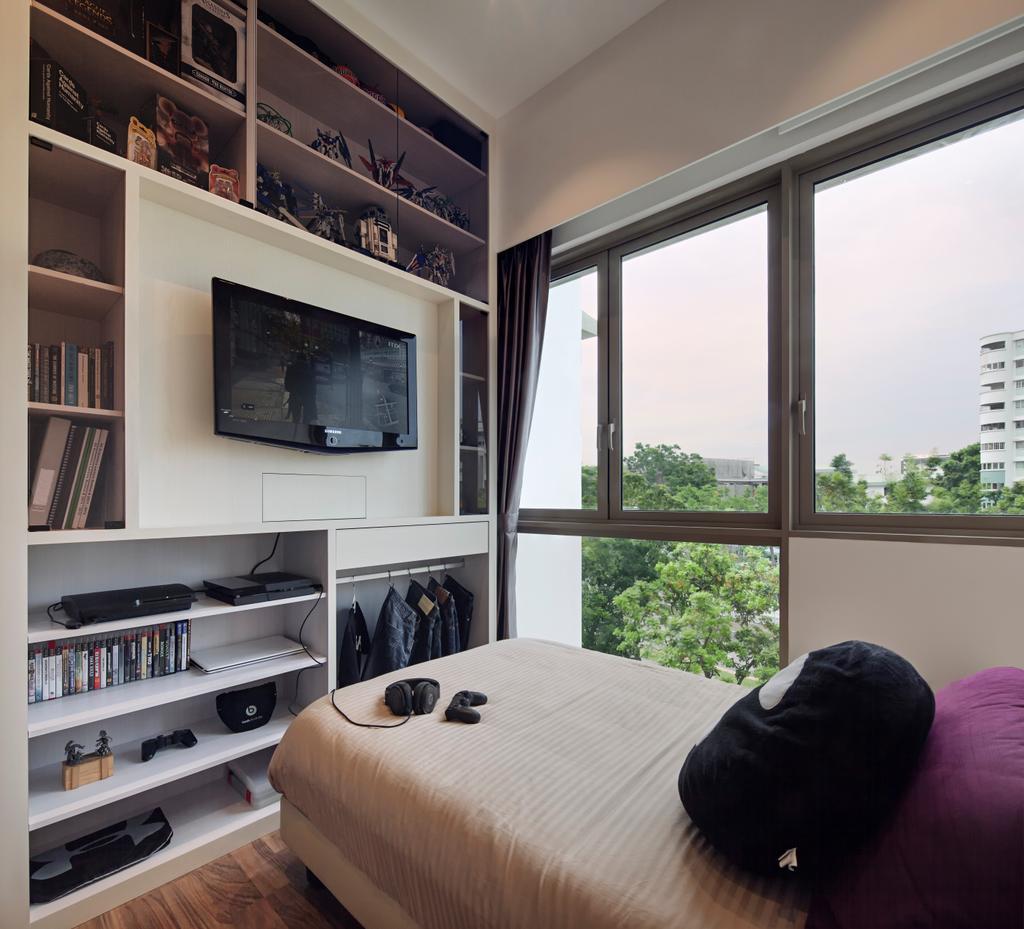 Modern, Condo, Bedroom, Terrasse Lane, Interior Designer, Zenith Arc, Minimalistic, Bookcase, Furniture, Closet, Wardrobe, Shelf