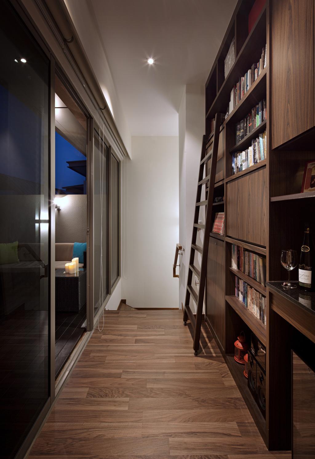 Modern, Condo, Study, Terrasse Lane, Interior Designer, Zenith Arc, Minimalistic, Bookcase, Furniture, Glass