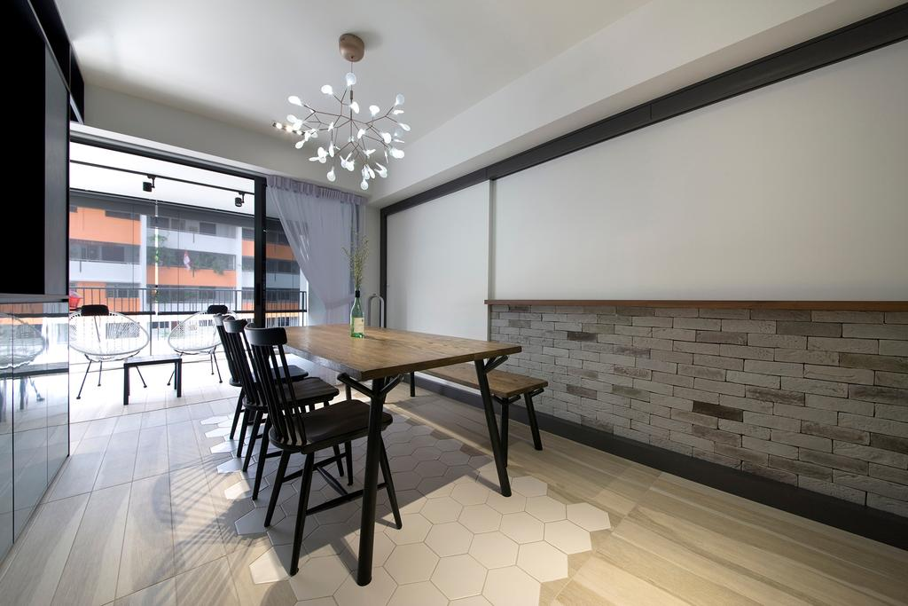Contemporary, HDB, Dining Room, Trivelis, Interior Designer, Habit, Dining Table, Dining Chairs, Dining Bench, Bench, Dining Lights, Curtian, Balcony Door, Track Lights, Furniture, Table, Chair, Ice Skating, Rink, Skating, Sport, Sports, Indoors, Interior Design, Room