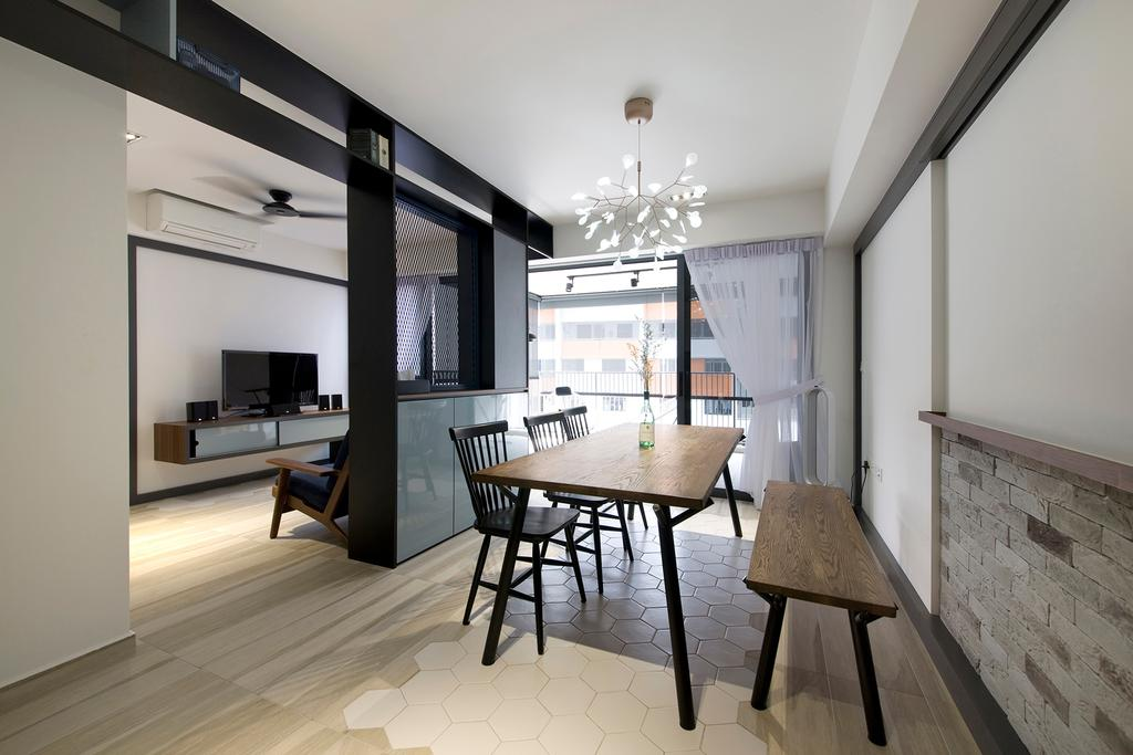 Contemporary, HDB, Dining Room, Trivelis, Interior Designer, Habit, Dining Table, Dining Chairs, Dining Bench, Brick Wall, Feature Wall, Curtain, Dining Lights, Flooring, Chair, Furniture, Building, Housing, Indoors, Loft, Interior Design, Room
