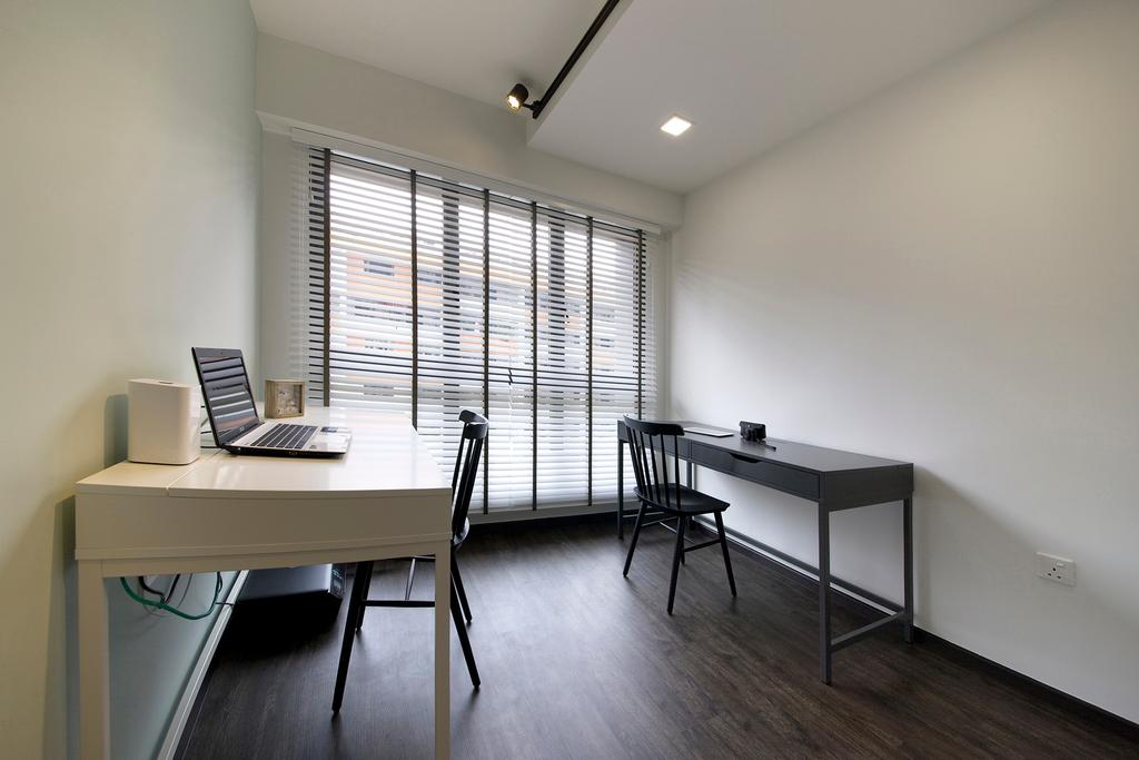 Contemporary, HDB, Study, Trivelis, Interior Designer, Habit, Study Room, Study Table, Laptop, Study Chair, Track Lights, Flooring, Blinds, Dining Table, Furniture, Table, Building, Housing, Indoors, Loft