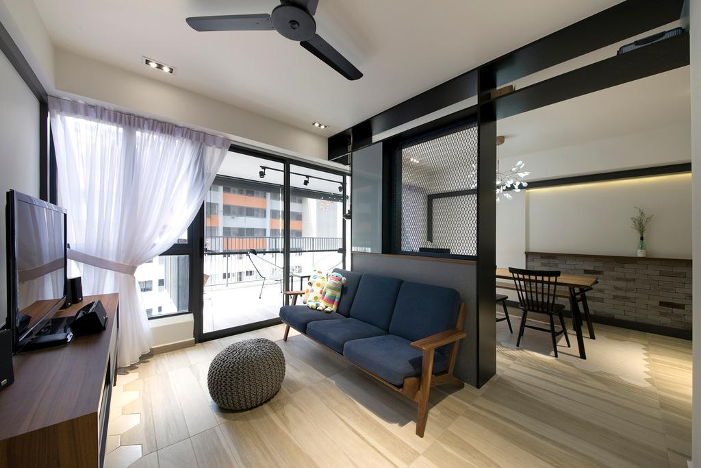 Contemporary, HDB, Living Room, Trivelis, Interior Designer, Habit, Tv, Curtain, Balcony, Sofa, Dining Table, Dining Chairs, Ceiling Fan, Down Lights, Tv Console, Furniture, Table, Building, Housing, Indoors, Loft