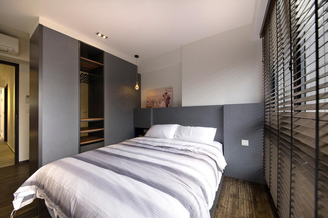 Trivelis, Habit, Contemporary, Bedroom, HDB, Bed, Bed Frame, Cupboard, Sliding Door, Bedsheet, Pillows, Switches, Blinds, Flooring, Wardrobe, Furniture, Lighting, Indoors, Interior Design, Room