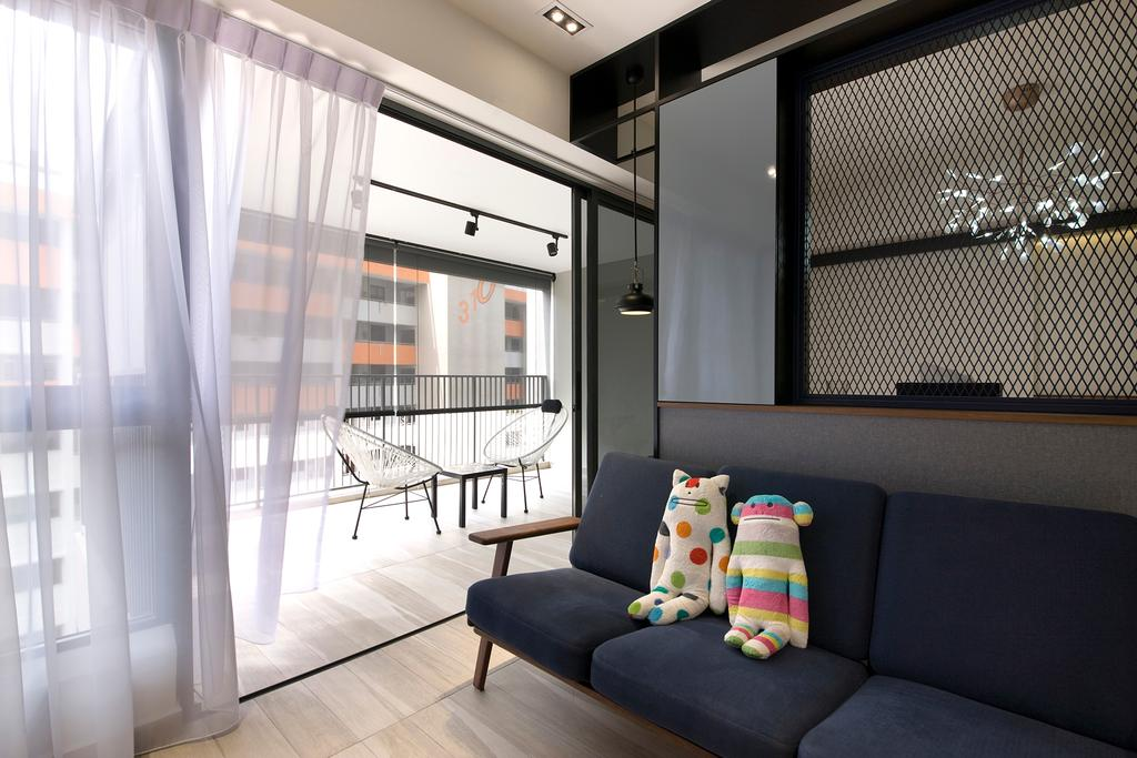 Contemporary, HDB, Living Room, Trivelis, Interior Designer, Habit, Sofa, Soft Toy, Lights, Dining Lights, Mesh, Track Lights, Balcony, Balcony Chairs, Flooring, Couch, Furniture, Building, Housing, Indoors, Toy