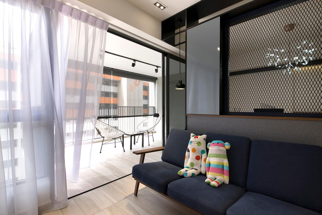 Trivelis, Habit, Contemporary, Living Room, HDB, Sofa, Soft Toy, Lights, Dining Lights, Mesh, Track Lights, Balcony, Balcony Chairs, Flooring, Couch, Furniture, Building, Housing, Indoors, Toy