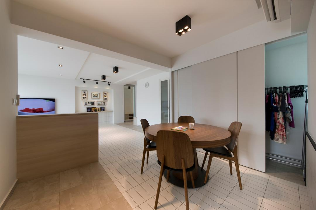 Boon Tiong, Habit, Minimalistic, Dining Room, HDB, Dining Table, Dining Chairs, Storage, Sliding Doors, Flooring, Tiles, Chair, Furniture, Table, Indoors, Interior Design, Room