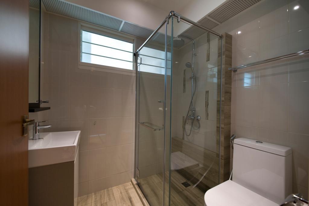 Minimalistic, HDB, Bathroom, Boon Tiong, Interior Designer, Habit, Toilet, Sink, Tap, Door, Mirror, Toilet Bowl, Shower, Glass Door, Flooring, Tiles, Shower Screen, Netural, Indoors, Interior Design, Room