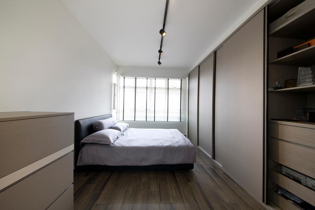 Minimalistic, HDB, Bedroom, Boon Tiong, Interior Designer, Habit, Wardrobe, Cupboard, Slidling Doors, Bed, Bed Frame, Bed Sheet, Blinds, Flooring, Desk