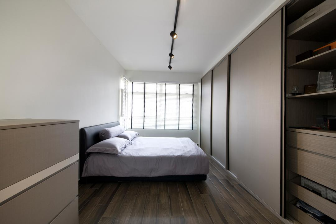 Boon Tiong, Habit, Minimalistic, Bedroom, HDB, Wardrobe, Cupboard, Slidling Doors, Bed, Bed Frame, Bed Sheet, Blinds, Flooring, Desk