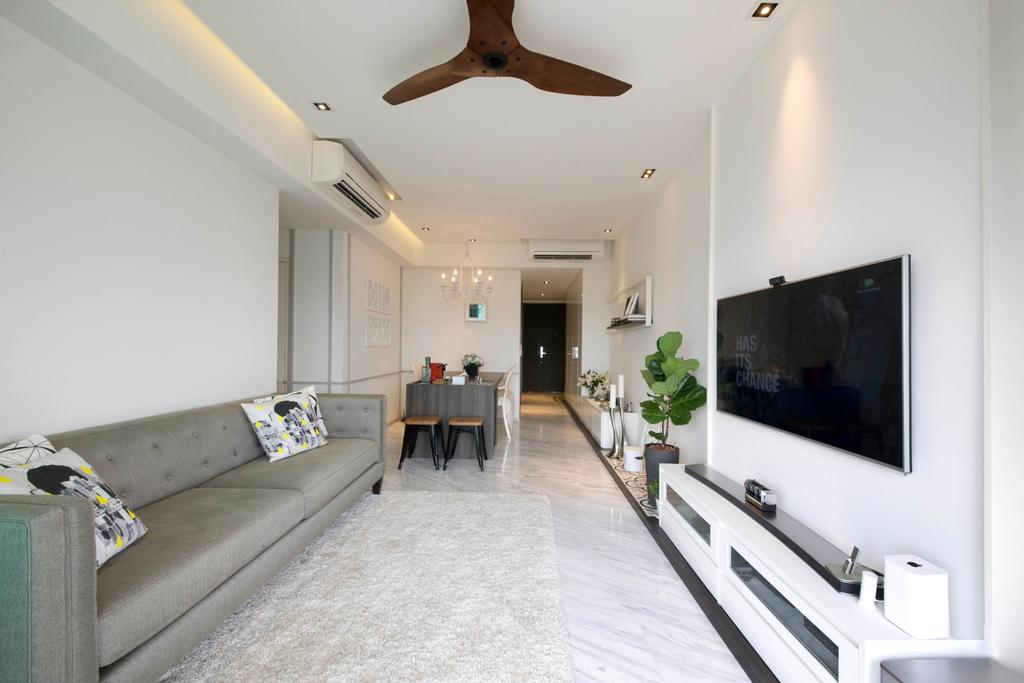 Contemporary, Condo, Living Room, Vision, Interior Designer, Habit, Sofa, Pillow, White, Clean, Tv Console, Tv, Television, Dining Table, Dining Chairs, Ceiling Fan, Wood Fan, Tiles, Grey Sofa, Aircon, Down Light, Down Lights, Couch, Furniture, Table